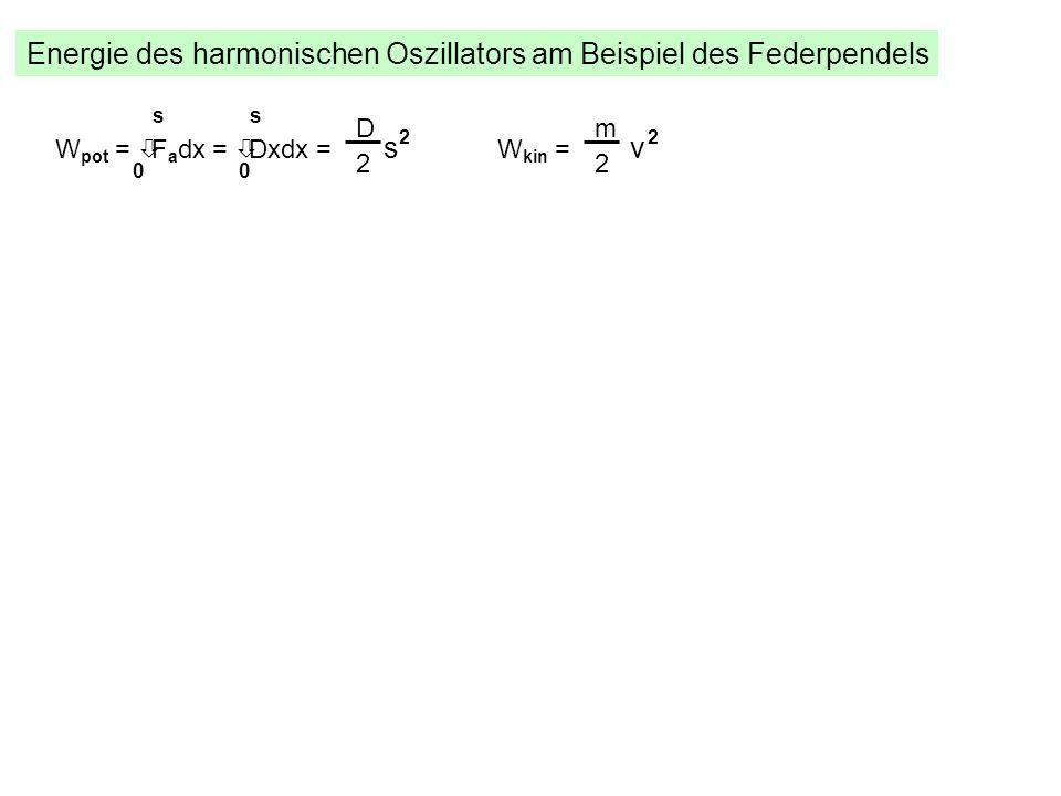 Energie des harmonischen Oszillators am Beispiel des Federpendels W pot = òF a dx = òDxdx = s 2 s 00 s D 2 W kin = v 2 m 2