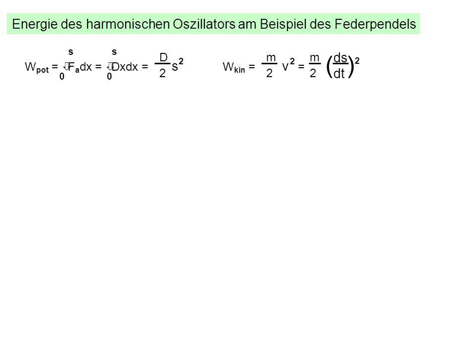 Energie des harmonischen Oszillators am Beispiel des Federpendels W pot = òF a dx = òDxdx = s 2 s 00 s D 2 W kin = v 2 = m 2 ds dt m 2 ( ) 2