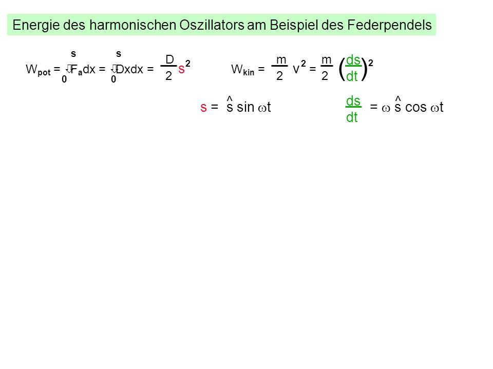 Energie des harmonischen Oszillators am Beispiel des Federpendels W pot = òF a dx = òDxdx = s 2 s 00 s D 2 W kin = v 2 = m 2 ds dt m 2 ( ) 2 s = s sin