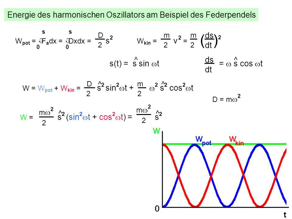 Energie des harmonischen Oszillators am Beispiel des Federpendels W pot = òF a dx = òDxdx = s 2 s 00 s D 2 W kin = v 2 = m 2 ds dt m 2 ( ) 2 s(t) = s