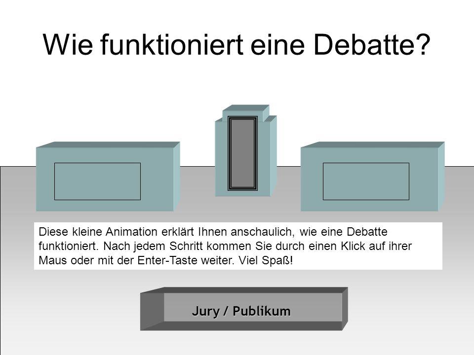 Wie funktioniert eine Debatte? Jury / Publikum Diese kleine Animation erklärt Ihnen anschaulich, wie eine Debatte funktioniert. Nach jedem Schritt kom