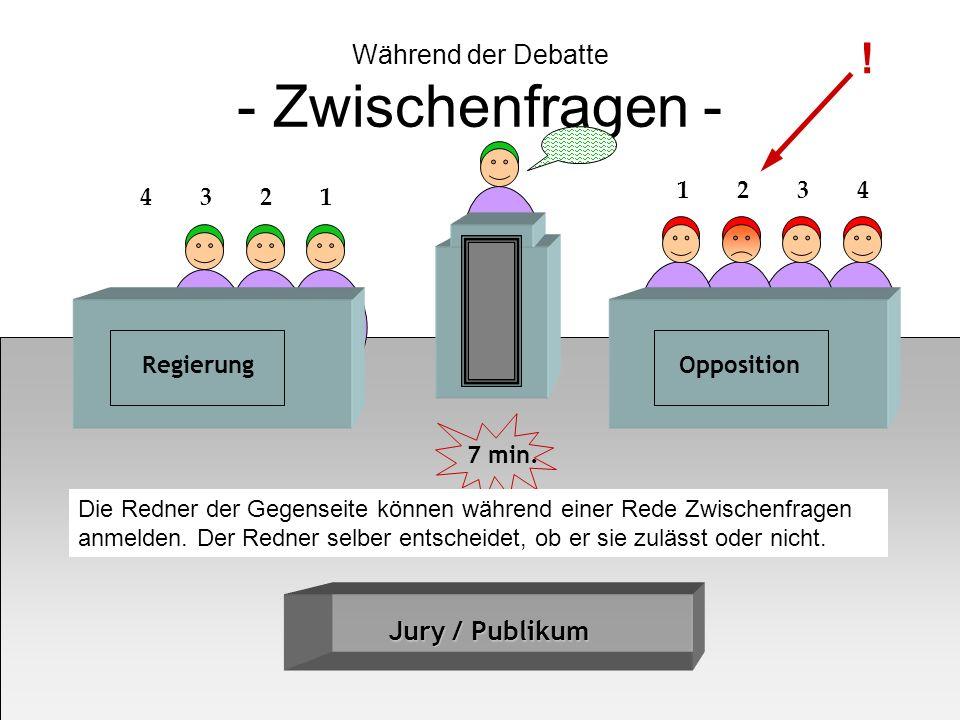 Während der Debatte - Zwischenfragen - Jury / Publikum RegierungOpposition 4 3 2 1 1 2 3 4 7 min. ! Die Redner der Gegenseite können während einer Red