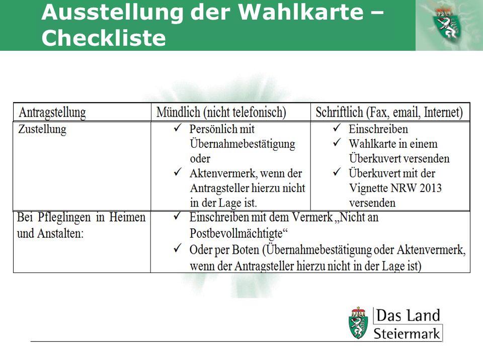 Autor Ausstellung der Wahlkarte – Checkliste