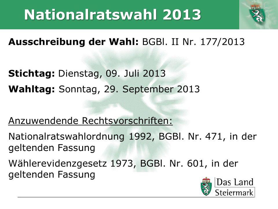 Autor Nationalratswahl 2013 Ausschreibung der Wahl: BGBl. II Nr. 177/2013 Stichtag: Dienstag, 09. Juli 2013 Wahltag: Sonntag, 29. September 2013 Anzuw