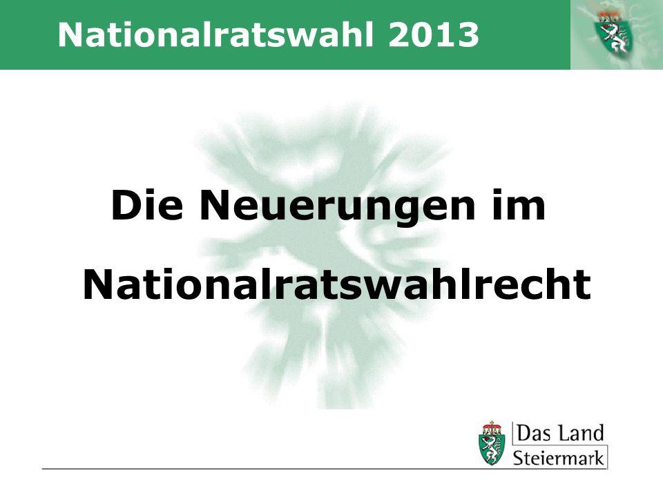 Autor Nationalratswahl 2013 Die Neuerungen im Nationalratswahlrecht