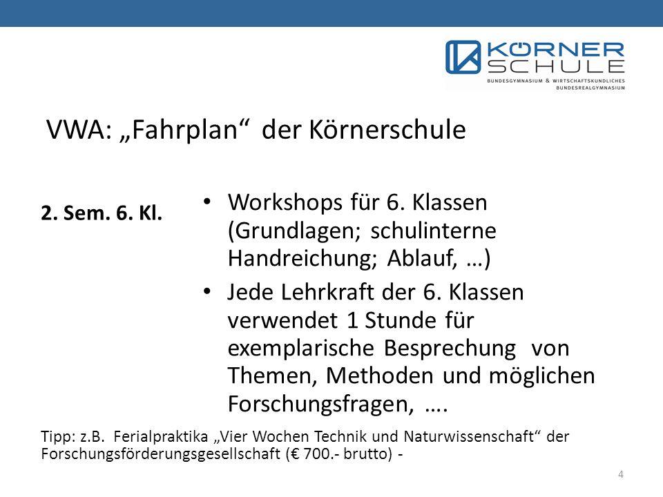 2.Sem. 6. Kl. Workshops für 6.