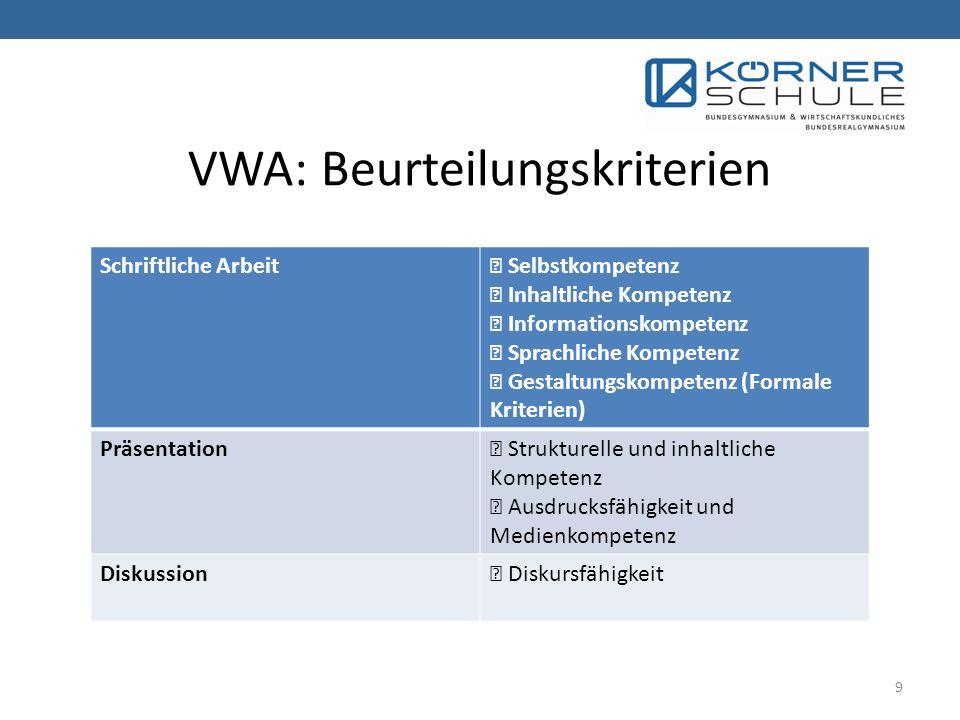 VWA: Beurteilungskriterien Schriftliche Arbeit Selbstkompetenz Inhaltliche Kompetenz Informationskompetenz Sprachliche Kompetenz Gestaltungskompetenz (Formale Kriterien) Präsentation Strukturelle und inhaltliche Kompetenz Ausdrucksfähigkeit und Medienkompetenz Diskussion Diskursfähigkeit 9