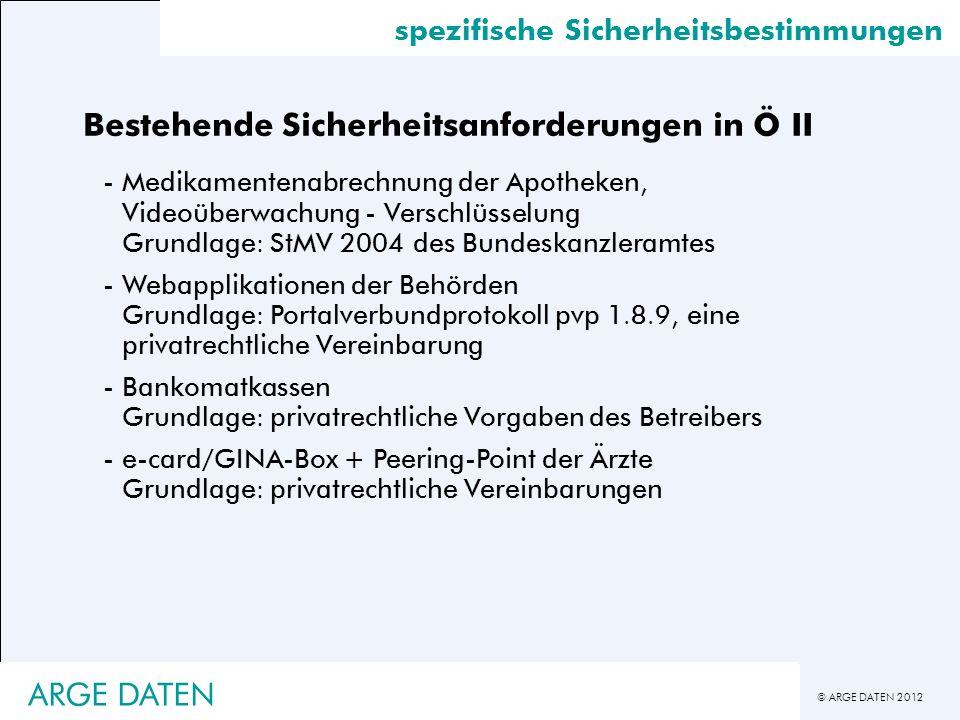 © ARGE DATEN 2012 spezifische Sicherheitsbestimmungen Bestehende Sicherheitsanforderungen in Ö II -Medikamentenabrechnung der Apotheken, Videoüberwach