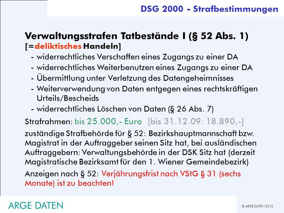 © ARGE DATEN 2012 ARGE DATEN Verwaltungsstrafen Tatbestände I (§ 52 Abs. 1) [=deliktisches Handeln] -widerrechtliches Verschaffen eines Zugangs zu ein