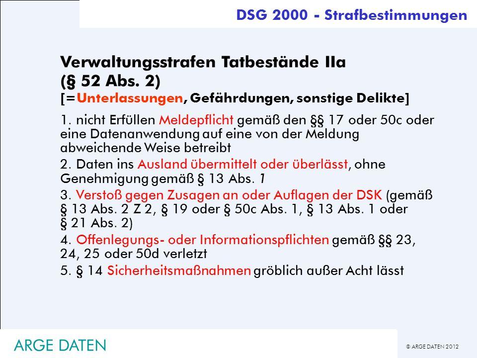 © ARGE DATEN 2012 ARGE DATEN Verwaltungsstrafen Tatbestände IIa (§ 52 Abs. 2) [=Unterlassungen, Gefährdungen, sonstige Delikte] 1. nicht Erfüllen Meld