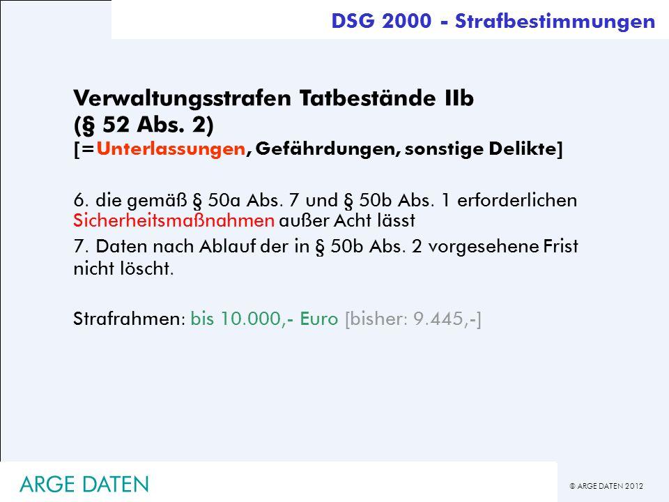 © ARGE DATEN 2012 ARGE DATEN Verwaltungsstrafen Tatbestände IIb (§ 52 Abs. 2) [=Unterlassungen, Gefährdungen, sonstige Delikte] 6. die gemäß § 50a Abs
