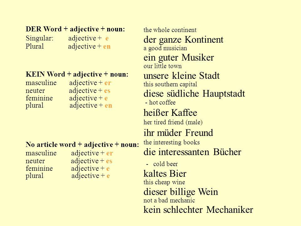 DER Word + adjective + noun: Singular: adjective + e Plural adjective + en KEIN Word + adjective + noun: masculine adjective + er neuter adjective + e