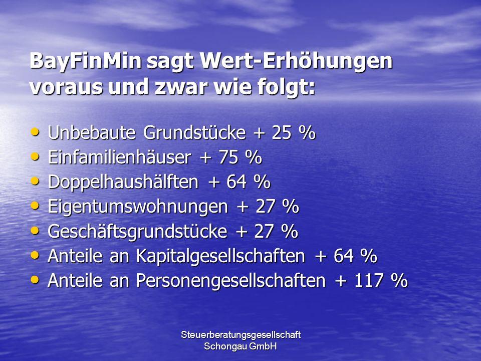 Steuerberatungsgesellschaft Schongau GmbH BayFinMin sagt Wert-Erhöhungen voraus und zwar wie folgt: Unbebaute Grundstücke + 25 % Unbebaute Grundstücke