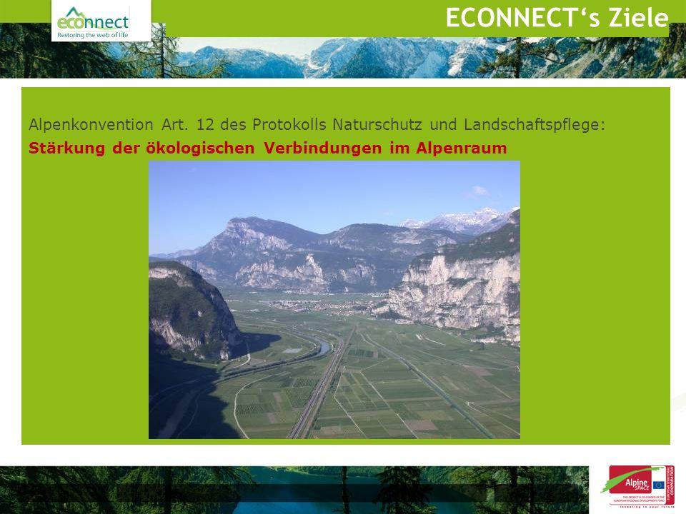 Alpenkonvention Art. 12 des Protokolls Naturschutz und Landschaftspflege: Stärkung der ökologischen Verbindungen im Alpenraum ECONNECTs Ziele