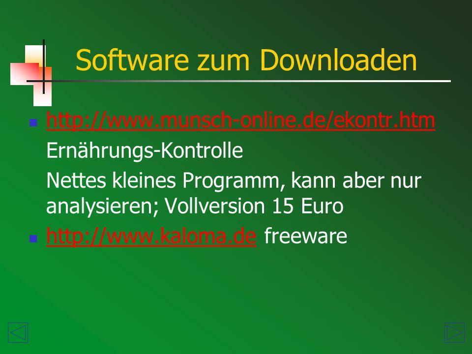Software zum Downloaden http://www.munsch-online.de/ekontr.htm Ernährungs-Kontrolle Nettes kleines Programm, kann aber nur analysieren; Vollversion 15 Euro http://www.kaloma.defreeware http://www.kaloma.de