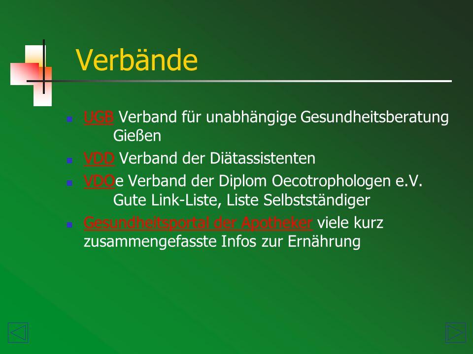 UGB Verband für unabhängige Gesundheitsberatung Gießen UGB VDD Verband der Diätassistenten VDD VDOe Verband der Diplom Oecotrophologen e.V.