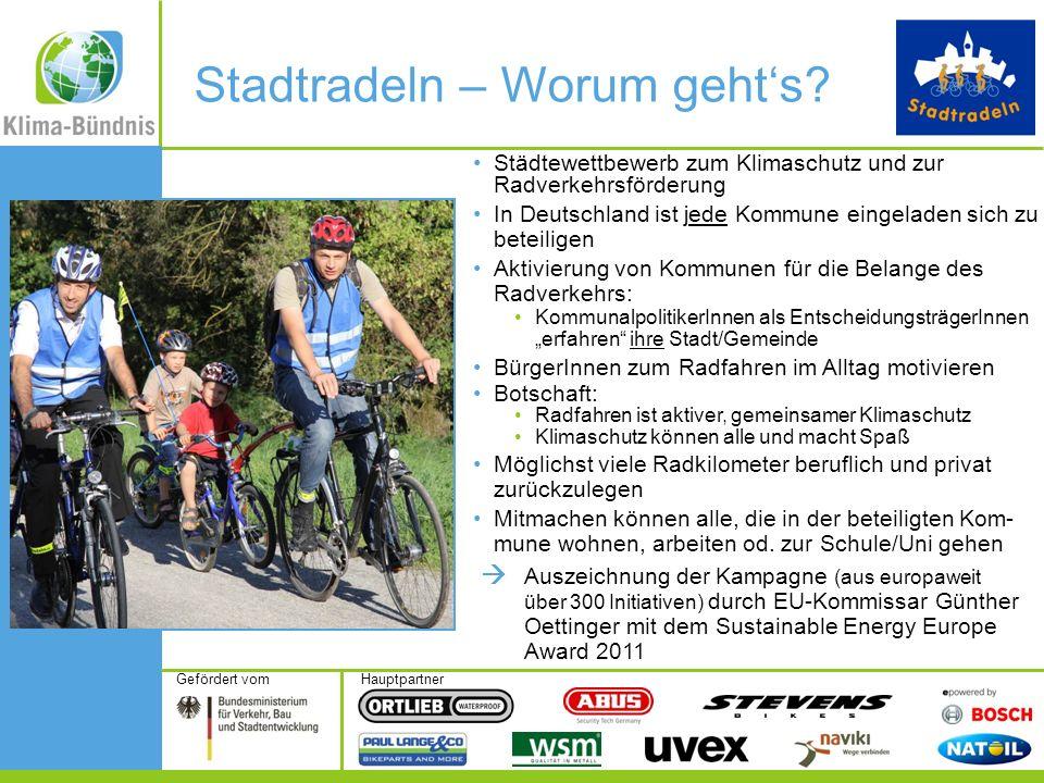 HauptpartnerGefördert vom Stadtradeln – Worum gehts? Städtewettbewerb zum Klimaschutz und zur Radverkehrsförderung In Deutschland ist jede Kommune ein