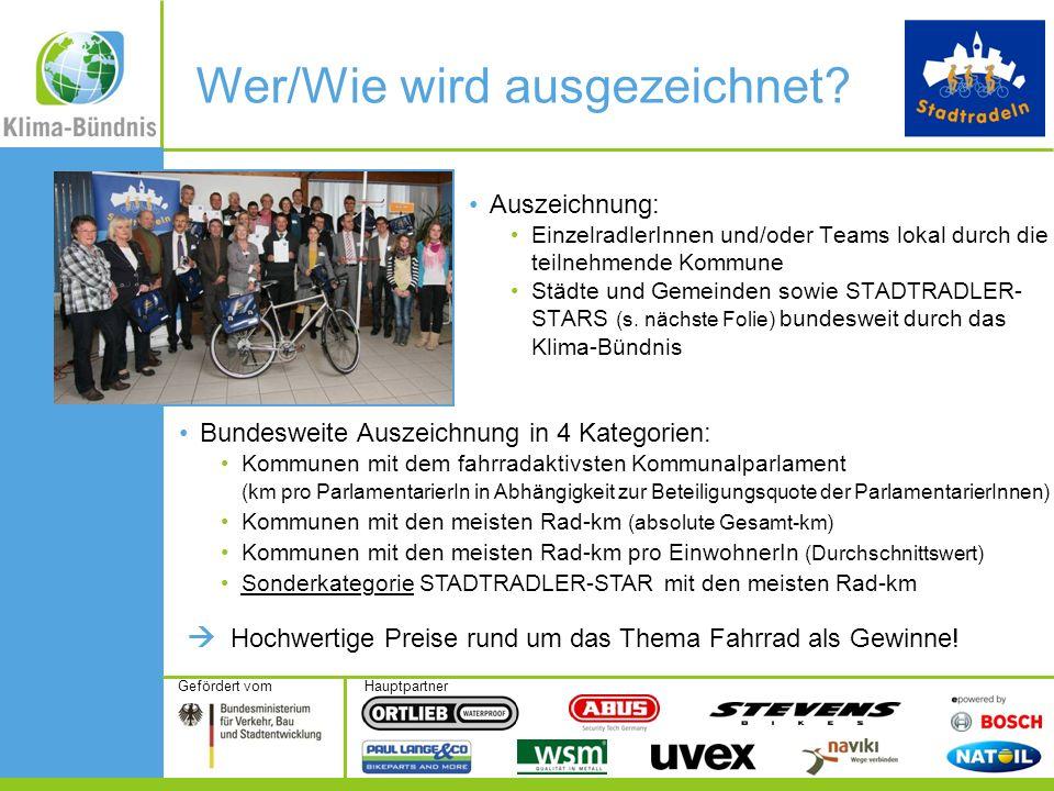 HauptpartnerGefördert vom Auszeichnung: EinzelradlerInnen und/oder Teams lokal durch die teilnehmende Kommune Städte und Gemeinden sowie STADTRADLER-
