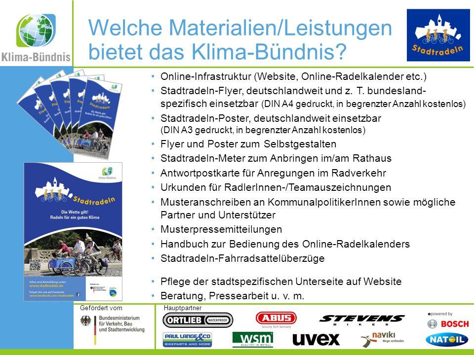 HauptpartnerGefördert vom Online-Infrastruktur (Website, Online-Radelkalender etc.) Stadtradeln-Flyer, deutschlandweit und z. T. bundesland- spezifisc