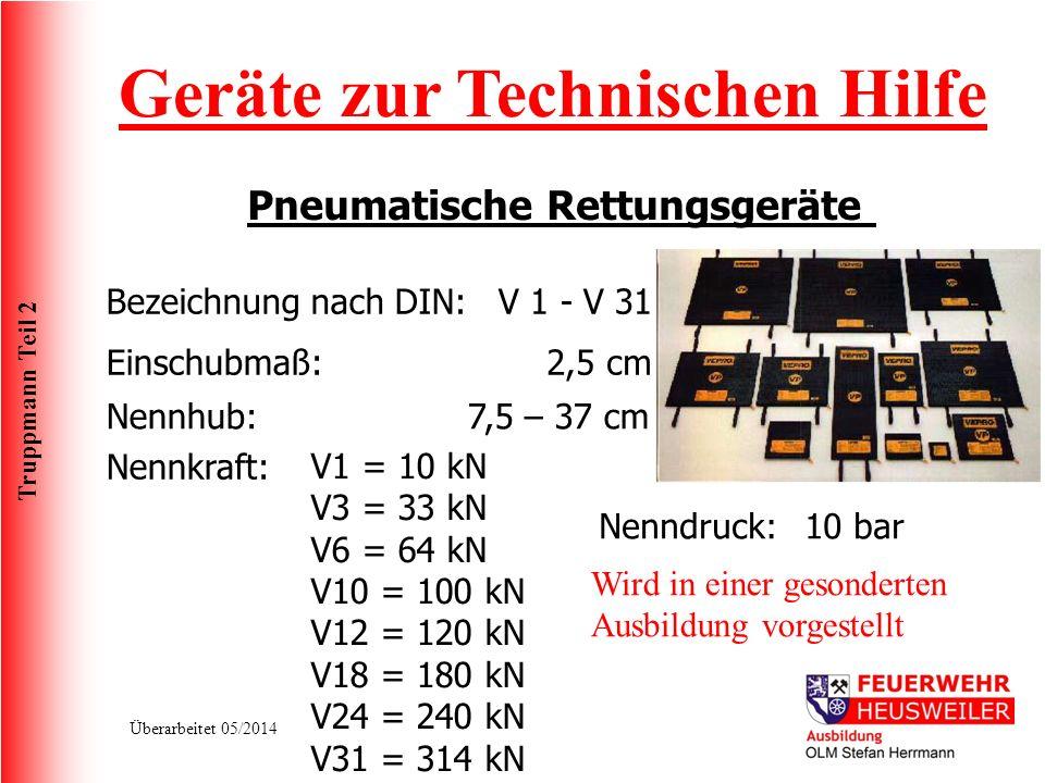 Truppmann Teil 2 Überarbeitet 05/2014 Geräte zur Technischen Hilfe Pneumatische Rettungsgeräte Bezeichnung nach DIN:V 1 - V 31 Nennkraft: Einschubmaß: