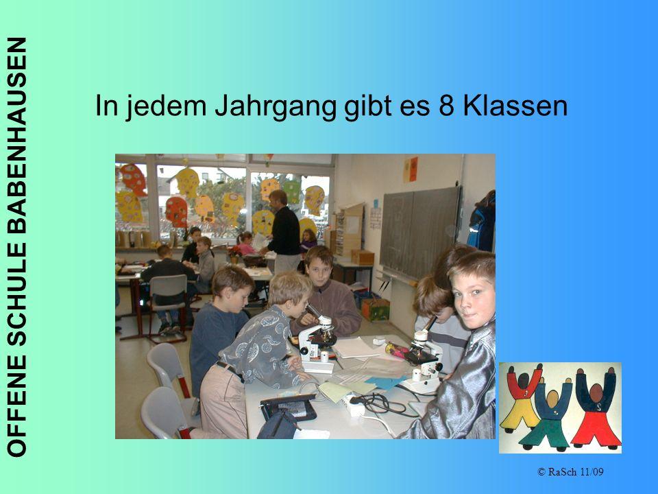 OFFENE SCHULE BABENHAUSEN © RaSch 11/09 In jedem Jahrgang gibt es 8 Klassen