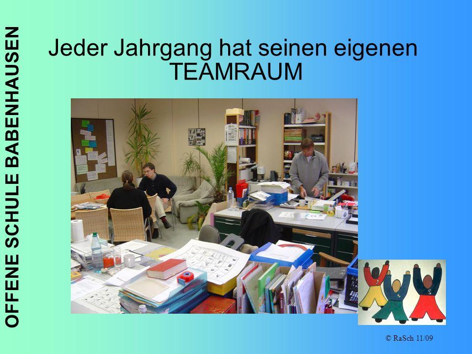 OFFENE SCHULE BABENHAUSEN © RaSch 11/09 Jeder Jahrgang hat seinen eigenen TEAMRAUM