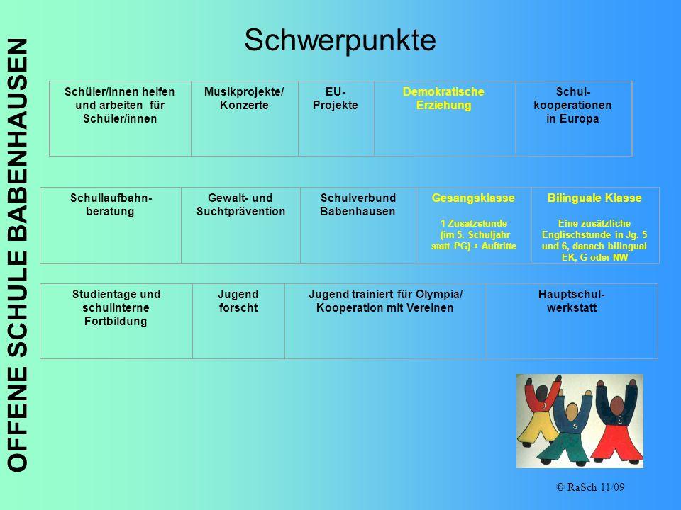 OFFENE SCHULE BABENHAUSEN © RaSch 11/09 Schwerpunkte Schüler/innen helfen und arbeiten für Schüler/innen Musikprojekte/ Konzerte EU- Projekte Demokrat