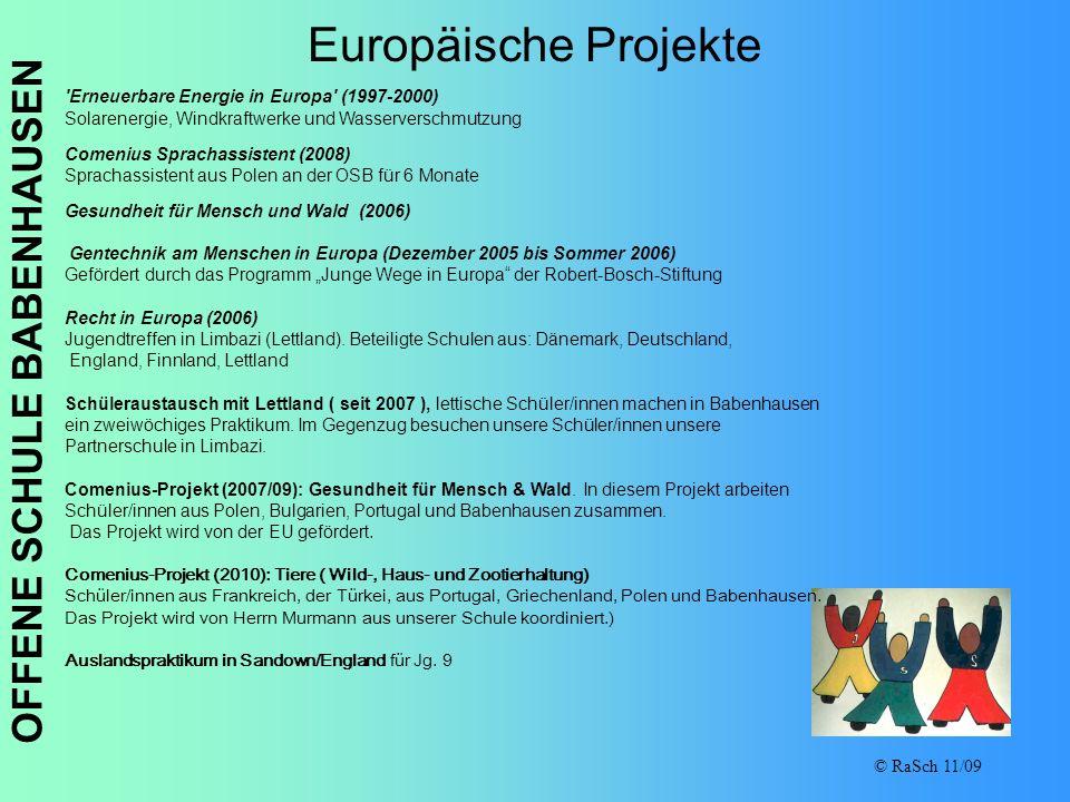 OFFENE SCHULE BABENHAUSEN © RaSch 11/09 Europäische Projekte 'Erneuerbare Energie in Europa' (1997-2000) Solarenergie, Windkraftwerke und Wasserversch