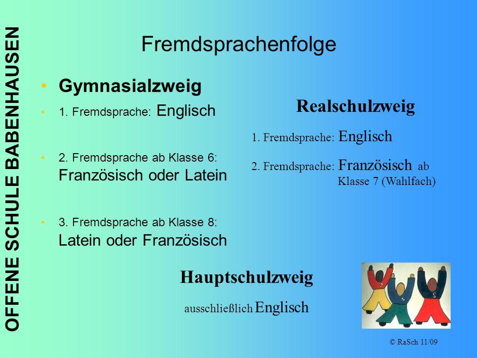 OFFENE SCHULE BABENHAUSEN © RaSch 11/09 Fremdsprachenfolge Gymnasialzweig 1. Fremdsprache: Englisch 2. Fremdsprache ab Klasse 6: Französisch oder Late