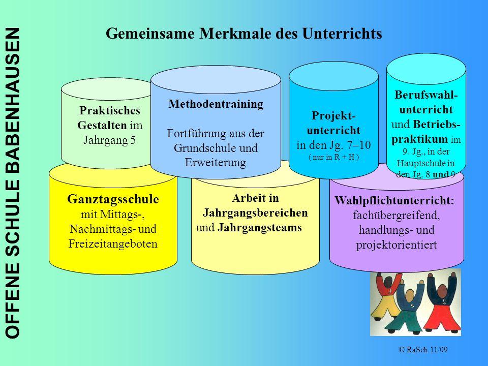 OFFENE SCHULE BABENHAUSEN © RaSch 11/09 Gemeinsame Merkmale des Unterrichts Ganztagsschule mit Mittags-, Nachmittags- und Freizeitangeboten Arbeit in