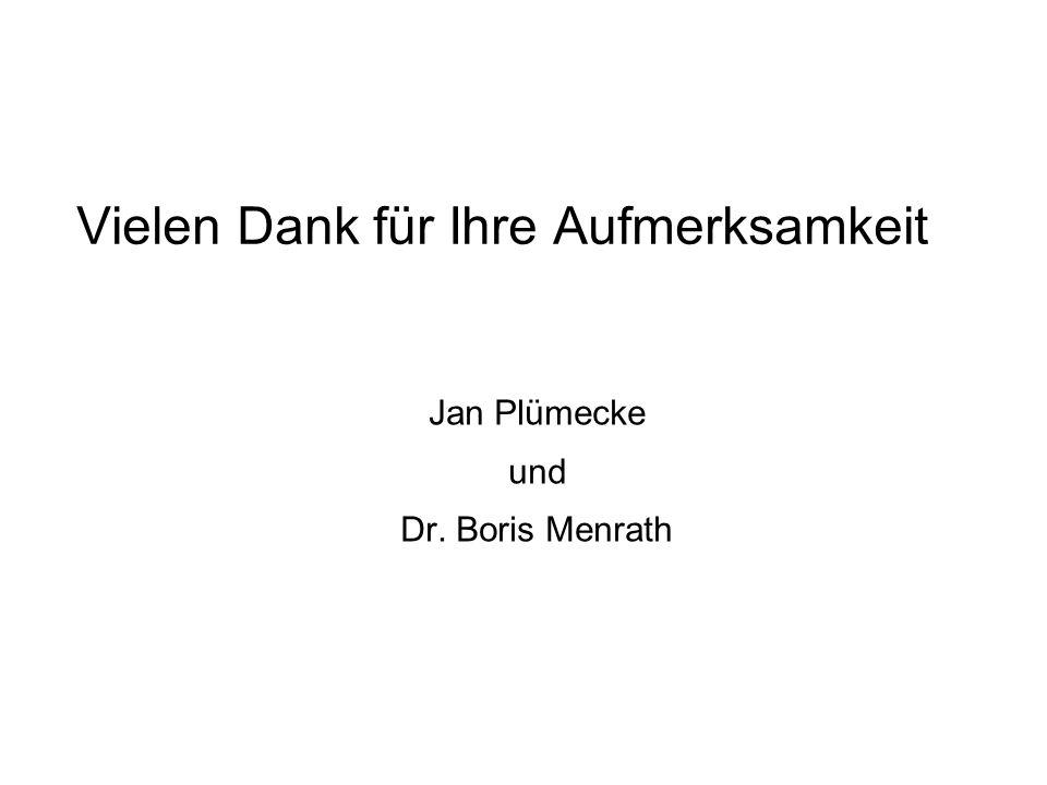 Vielen Dank für Ihre Aufmerksamkeit Jan Plümecke und Dr. Boris Menrath