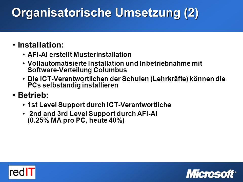 Installation:Installation: AFI-AI erstellt MusterinstallationAFI-AI erstellt Musterinstallation Vollautomatisierte Installation und Inbetriebnahme mit Software-Verteilung ColumbusVollautomatisierte Installation und Inbetriebnahme mit Software-Verteilung Columbus Die ICT-Verantwortlichen der Schulen (Lehrkräfte) können die PCs selbständig installierenDie ICT-Verantwortlichen der Schulen (Lehrkräfte) können die PCs selbständig installieren Betrieb:Betrieb: 1st Level Support durch ICT-Verantwortliche1st Level Support durch ICT-Verantwortliche 2nd and 3rd Level Support durch AFI-AI (0.25% MA pro PC, heute 40%) 2nd and 3rd Level Support durch AFI-AI (0.25% MA pro PC, heute 40%) Organisatorische Umsetzung (2)