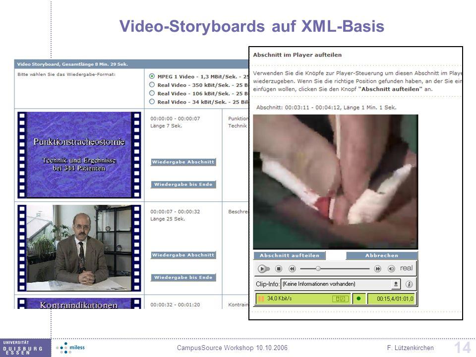 CampusSource Workshop 10.10.2006F. Lützenkirchen 14 Video-Storyboards auf XML-Basis