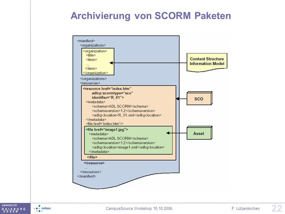 CampusSource Workshop 10.10.2006F. Lützenkirchen 22 Archivierung von SCORM Paketen