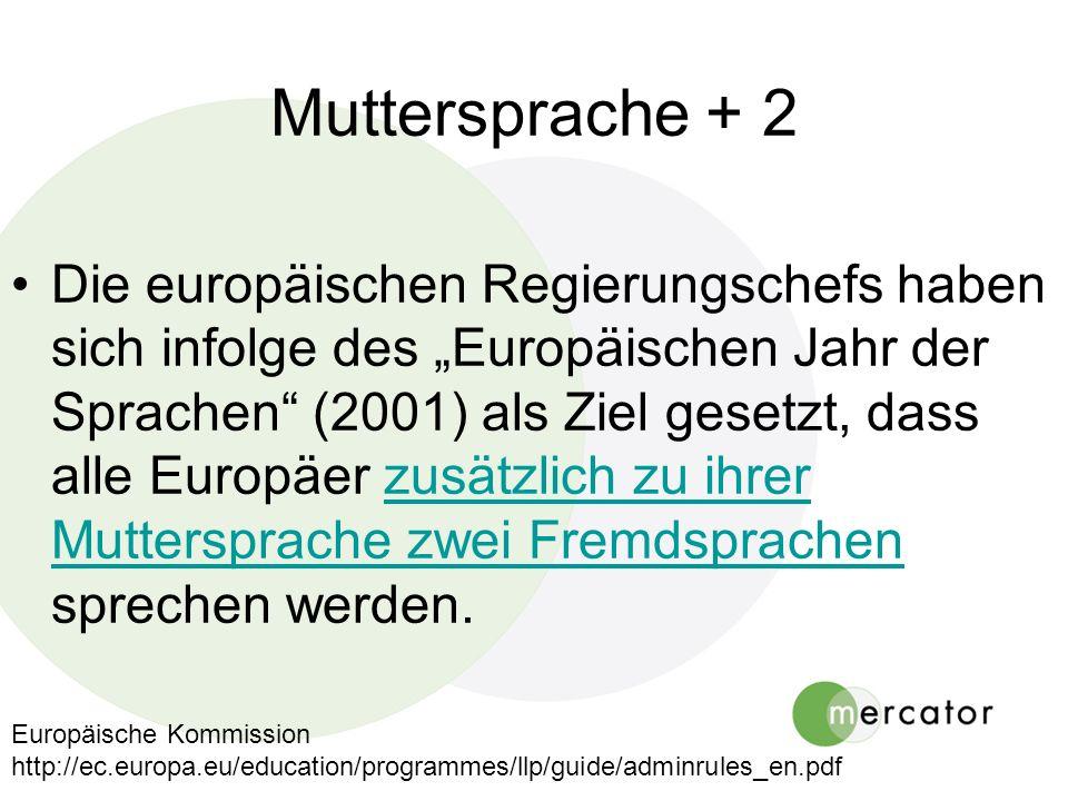 Muttersprache + 2 Die europäischen Regierungschefs haben sich infolge des Europäischen Jahr der Sprachen (2001) als Ziel gesetzt, dass alle Europäer z