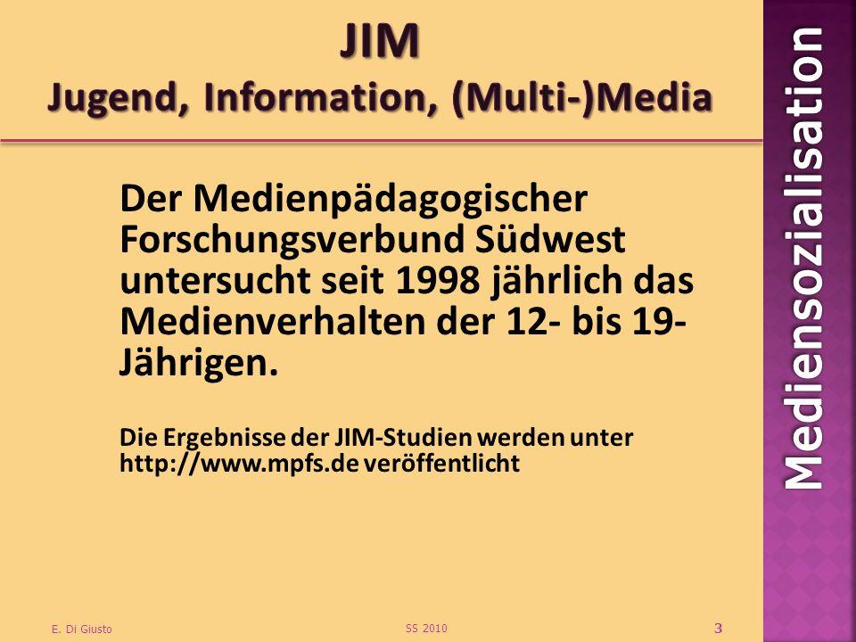 Der Medienpädagogischer Forschungsverbund Südwest untersucht seit 1998 jährlich das Medienverhalten der 12- bis 19- Jährigen. Die Ergebnisse der JIM-S