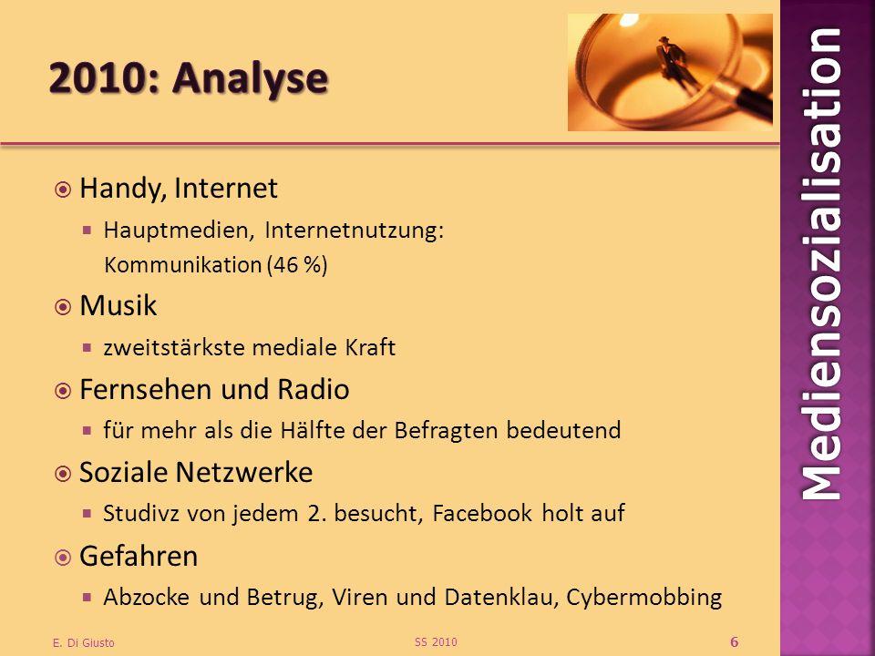 Handy, Internet Hauptmedien, Internetnutzung: Kommunikation (46 %) Musik zweitstärkste mediale Kraft Fernsehen und Radio für mehr als die Hälfte der B