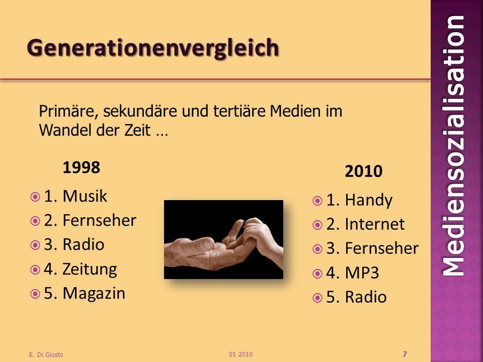 1998 1. Musik 2. Fernseher 3. Radio 4. Zeitung 5. Magazin 2010 1. Handy 2. Internet 3. Fernseher 4. MP3 5. Radio SS 2010 E. Di Giusto 7 Primäre, sekun