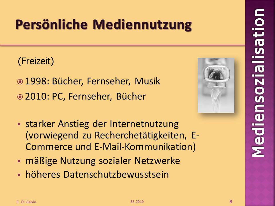 1998: Bücher, Fernseher, Musik 2010: PC, Fernseher, Bücher SS 2010 E. Di Giusto 8 starker Anstieg der Internetnutzung (vorwiegend zu Recherchetätigkei