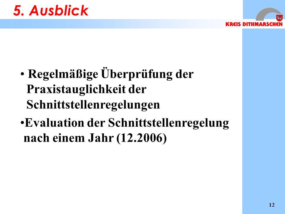Regelmäßige Überprüfung der Praxistauglichkeit der Schnittstellenregelungen Evaluation der Schnittstellenregelung nach einem Jahr (12.2006) 5.