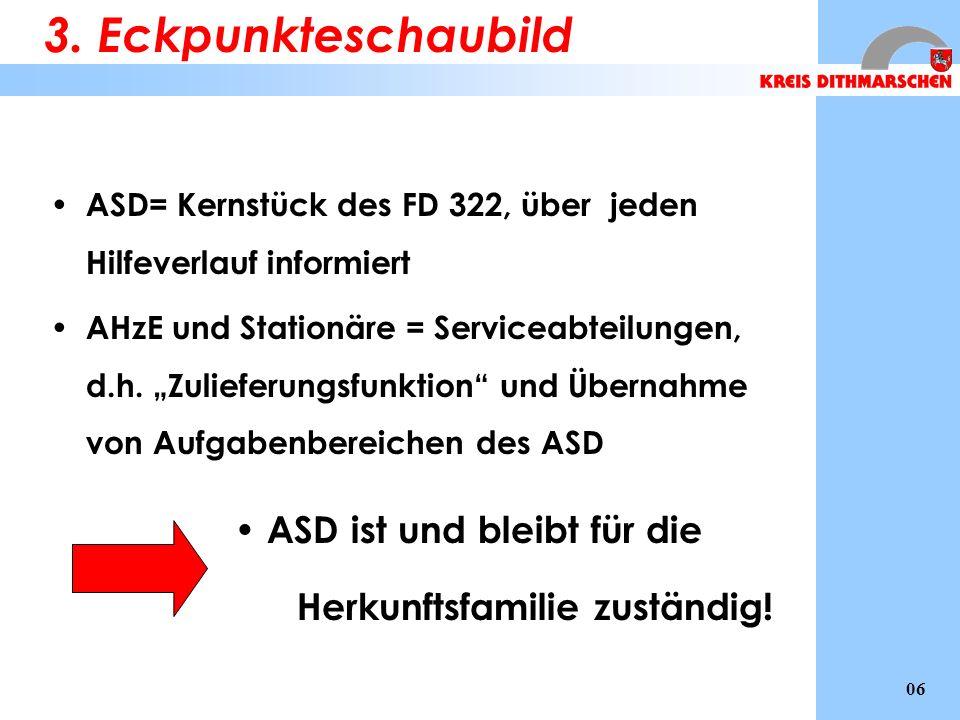 ASD= Kernstück des FD 322, über jeden Hilfeverlauf informiert AHzE und Stationäre = Serviceabteilungen, d.h. Zulieferungsfunktion und Übernahme von Au