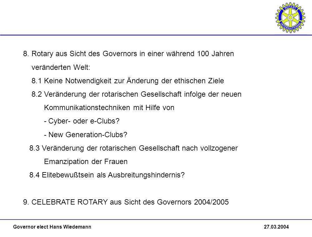 Governor elect Hans Wiedemann 27.03.2004 8.