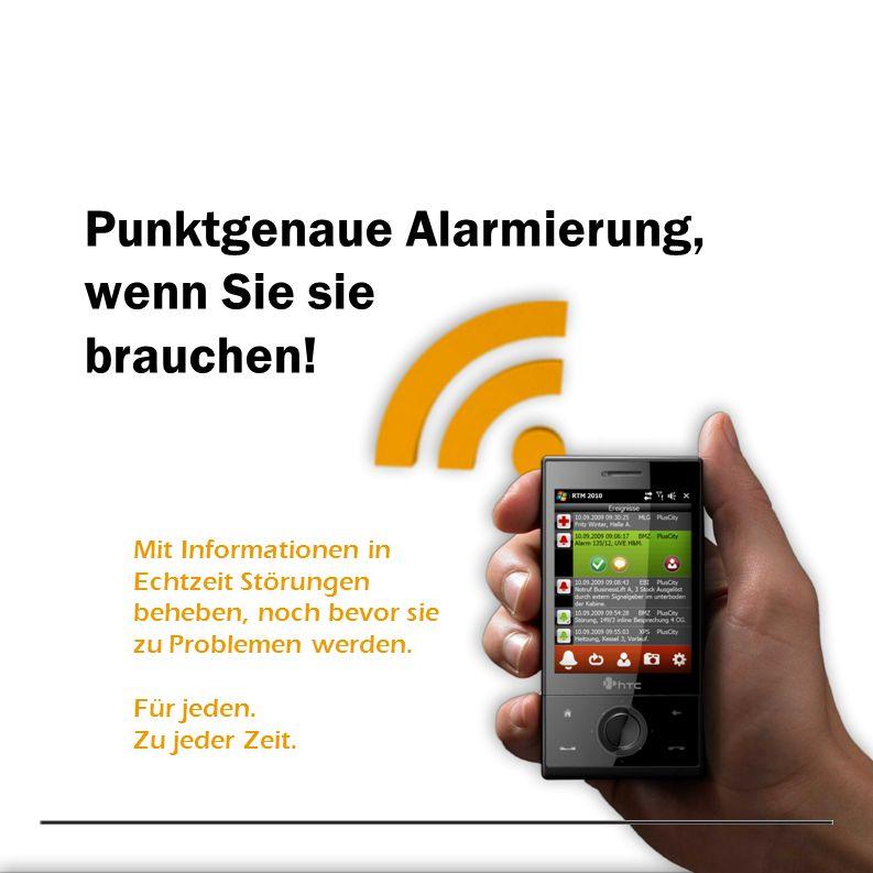Punktgenaue Alarmierung, wenn Sie sie brauchen! Mit Informationen in Echtzeit Störungen beheben, noch bevor sie zu Problemen werden. Für jeden. Zu jed