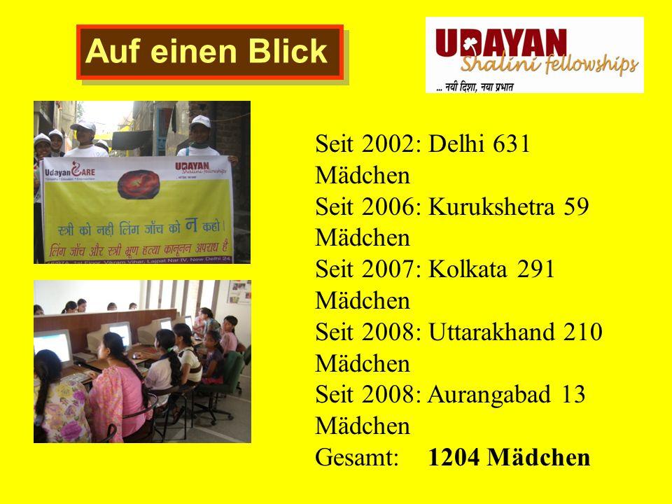 Auf einen Blick Seit 2002: Delhi 631 Mädchen Seit 2006: Kurukshetra 59 Mädchen Seit 2007: Kolkata 291 Mädchen Seit 2008: Uttarakhand 210 Mädchen Seit 2008: Aurangabad 13 Mädchen Gesamt: 1204 Mädchen