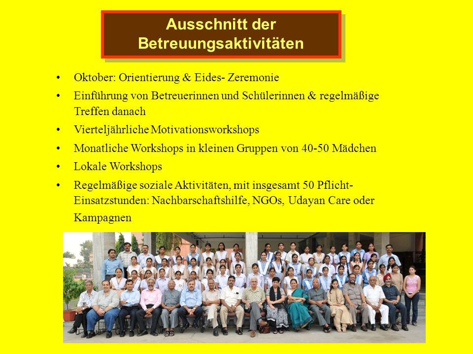 Ausschnitt der Betreuungsaktivitäten Oktober: Orientierung & Eides- Zeremonie Einführung von Betreuerinnen und Schülerinnen & regelmäßige Treffen dana