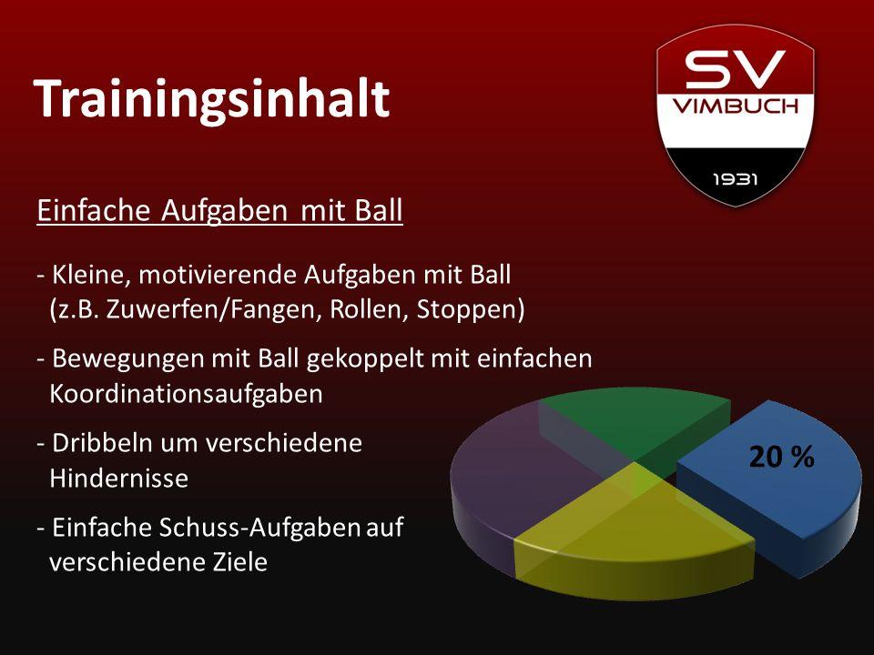 Trainingsinhalt 20 % Einfache Aufgaben mit Ball - Kleine, motivierende Aufgaben mit Ball (z.B. Zuwerfen/Fangen, Rollen, Stoppen) - Bewegungen mit Ball