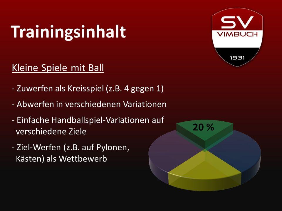 Trainingsinhalt 20 % Kleine Spiele mit Ball - Zuwerfen als Kreisspiel (z.B. 4 gegen 1) - Abwerfen in verschiedenen Variationen - Einfache Handballspie