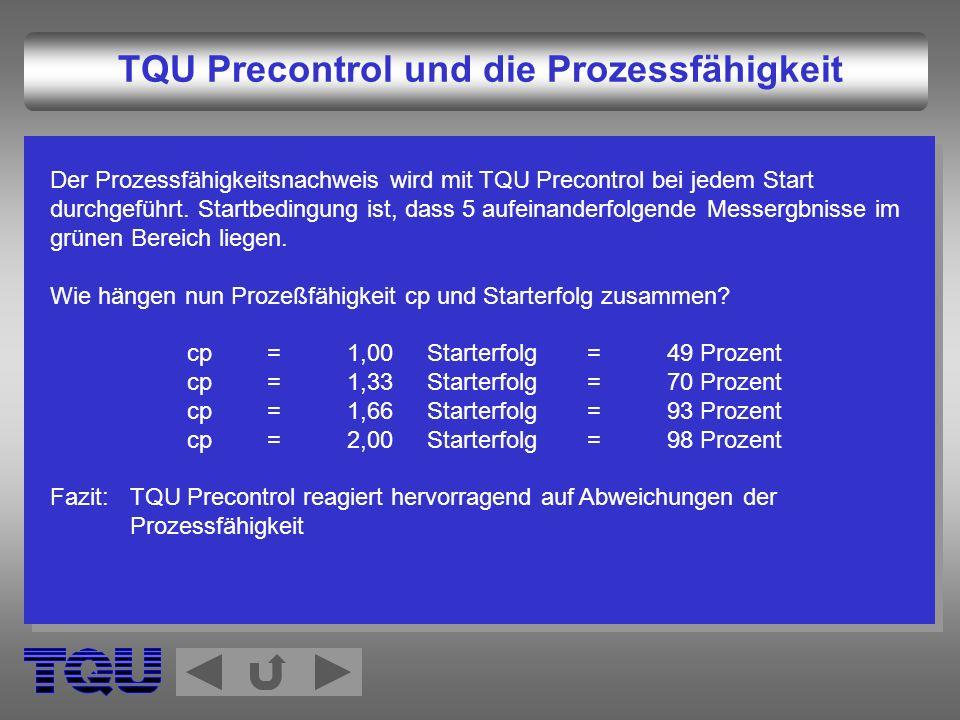 TQU Precontrol und die Prozessfähigkeit Der Prozessfähigkeitsnachweis wird mit TQU Precontrol bei jedem Start durchgeführt. Startbedingung ist, dass 5