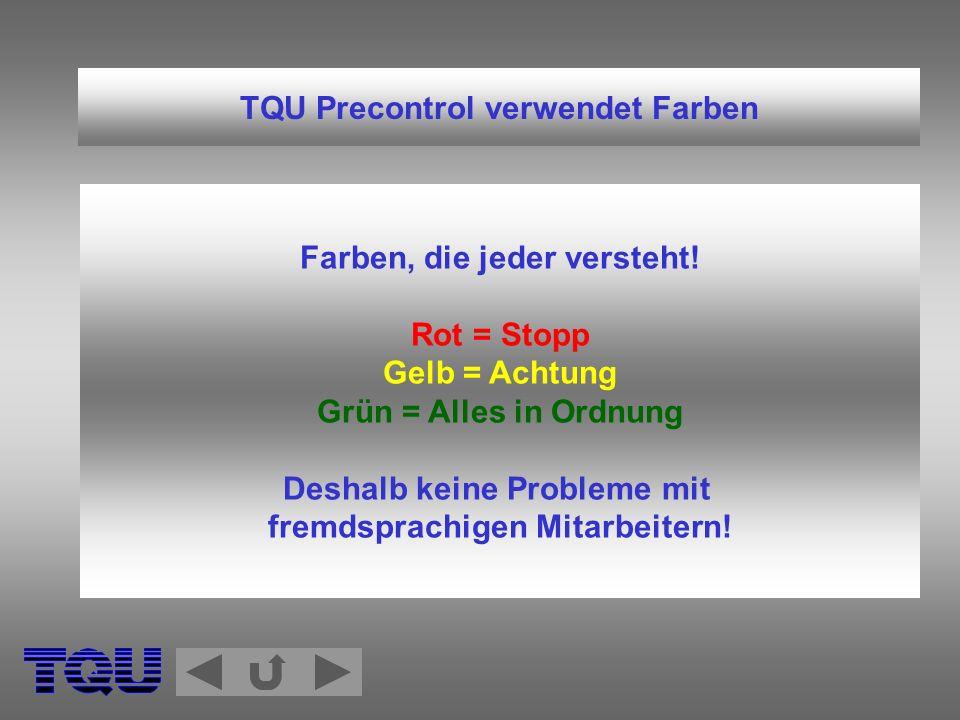 TQU Precontrol verwendet Farben Farben, die jeder versteht! Rot = Stopp Gelb = Achtung Grün = Alles in Ordnung Deshalb keine Probleme mit fremdsprachi