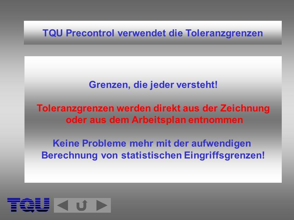 TQU Precontrol Regeln zum Prozeßstart Beim Neustart und nach Einstellungen sind 5 aufeinanderfolgende Teile zu entnehmen und zu vermessen.